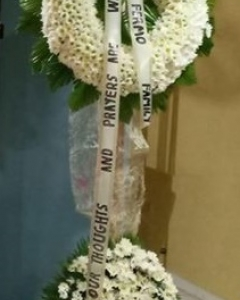 Funeral_ all white Pastel Sympathy stand