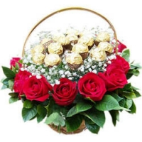 Ferrero Rocher With Roses Basket
