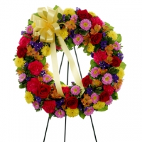 Funeral_Multi-Color Standing Sympathy Wreath