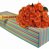 24 Orange Roses in a Box with Chocolates