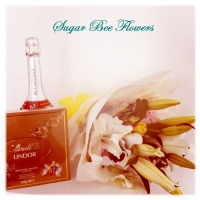flowers wine and chocolate
