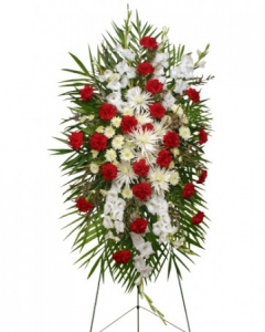 Funeral_Red & White Roses with mix flowers