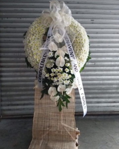 Florist Designed White Standing Wreath