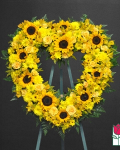 sunflowers & mix Heart Wreath