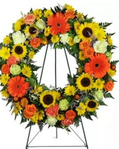 Heavenly Dawn Sunflower Wreath