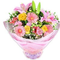 Pink and orange Seasonal Flowers Bouque