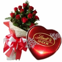 Red Roses + box of Lindt